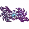Motif Glitter Leaves with stones 28x13cm Purple Crystal Aurora Borealis